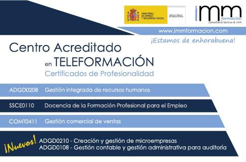 Acreditados en nuevos Certificados de Profesionalidad Online